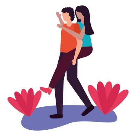 man carrying woman - couple romantic love flat design vector illustration Illustration