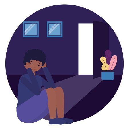 woman in the room mental disorder psychological depressed vector illustration