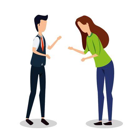 elegant young business couple avatars characters vector illustration design Çizim
