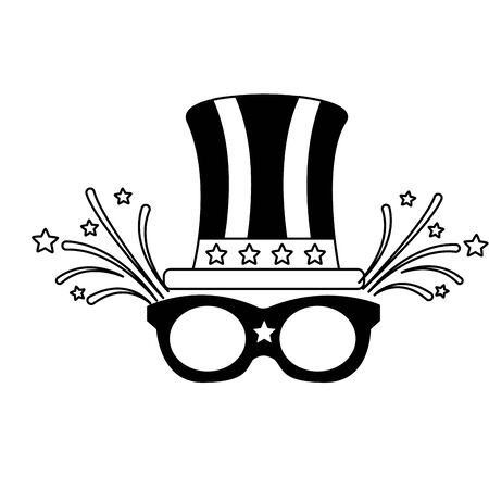 top hat and sunglasses american happy independence day vector illustration Иллюстрация