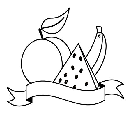 watermelon peach banana tropical fruits banner sticker vector illustration