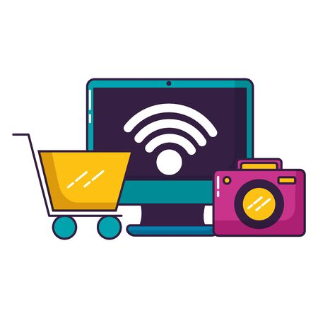 computer camera ecommerce wifi free connection vector illustration Illustration