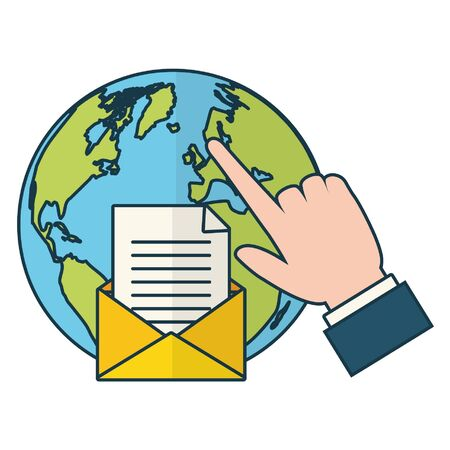 world hand clicking send email vector illustration