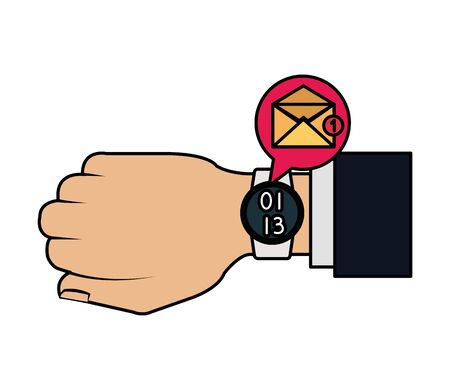 hand with smartwatch sending email vector illustration design