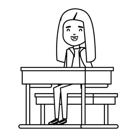 happy student girl seated in school desk vector illustration design
