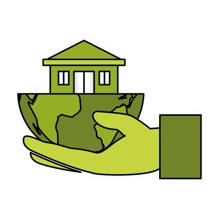 hand holding house solar panel eco friendly environment vector illustration Archivio Fotografico - 129751073