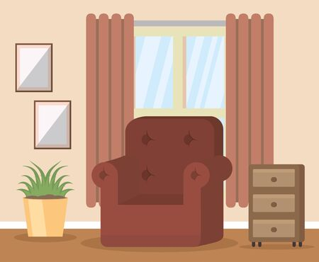 living room couch stand pictures vector illustration Ilustracja