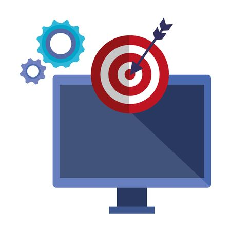 computer with target arrow success and gears vector illustration design Stockfoto - 129733400
