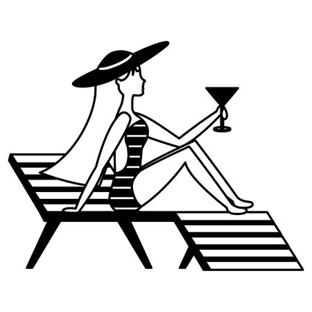 woman with cocktail in swimsuit sitting on deck chair vector illustration Vektorové ilustrace