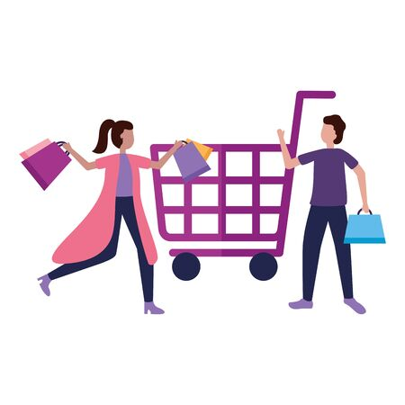 man and woman cart shopping bag commerce vector illustration  イラスト・ベクター素材