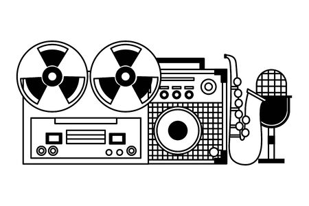 reel tape recorder amplifier microphone saxophone festival music vector illustration