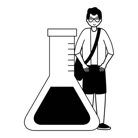 happy young man chemistry test tube school vector illustration Çizim