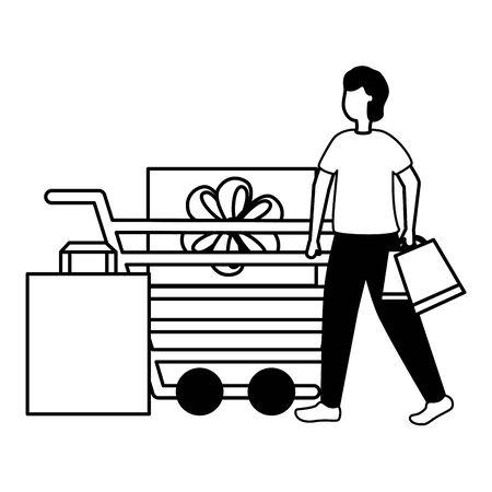 man cart gift box shopping bag commerce vector illustration Illustration