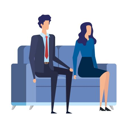 elegant business couple workers in the livingroom vector illustration design