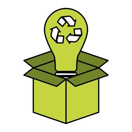 light bulb cardboard box eco friendly environment vector illustration Standard-Bild - 129789539