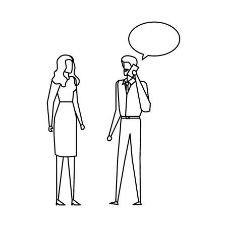 business couple calling with cellphone and speech bubbles vector illustration design