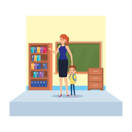 female teacher and little boy in school classroom vector illustration design
