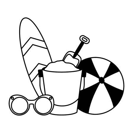 vacations ball surfboard bucket sunglasses vector illustration Stock Illustratie
