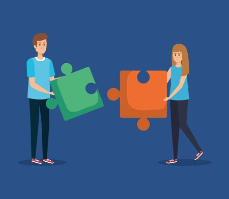 woman and man with puzzle business media to teamwork strategy vector illustration