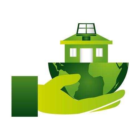 hand holding house solar panel eco friendly environment vector illustration Archivio Fotografico - 129789595