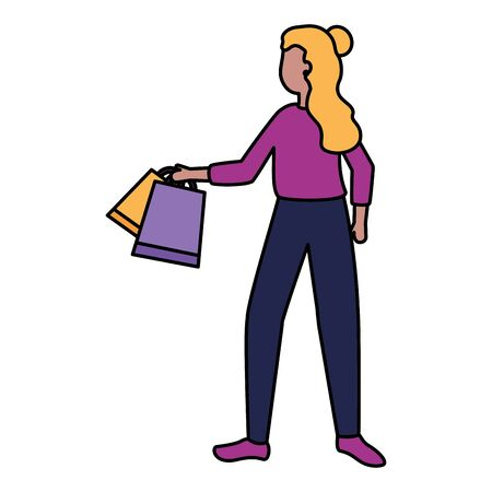 woman with shopping bags market vector illustration