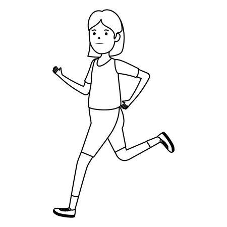 happy athletic girl running sport vector illustration design