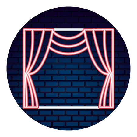 theater curtain with light of neon icon vector illustration design