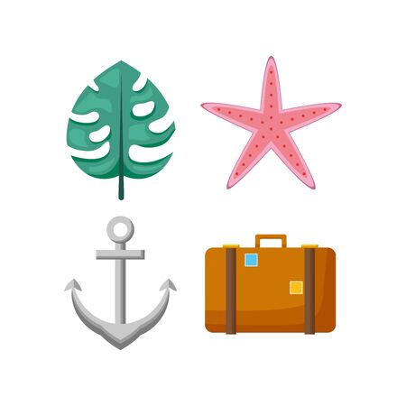 summer time holiday suitcase anchor starfish leaf collection vector illustration