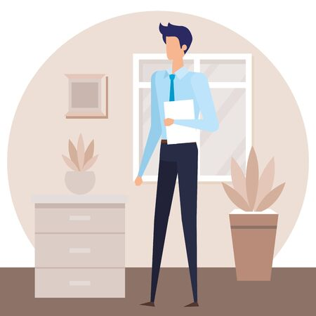elegant businessman worker in the house corridor vector illustration design Çizim