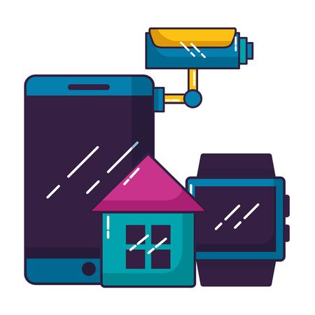 smartphone smart watch house wifi free connection vector illustration