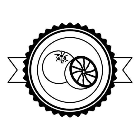 grapefruit tropical fruits sticker design vector illustration