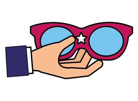 hand holding sunglasses with star vector illustration Ilustrace