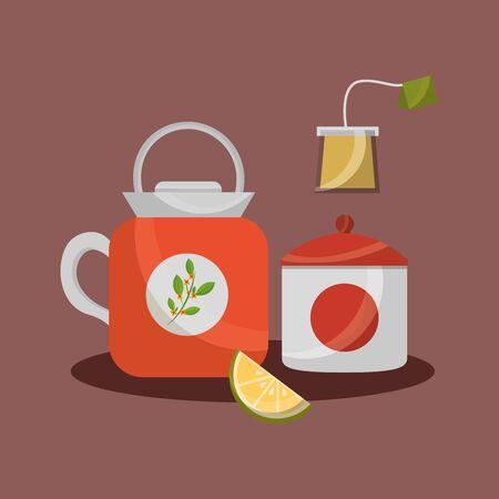Tea pot and sugar bowl design, Drink breakfast beverage tradition kitchen and aromatic theme Vector illustration Banco de Imagens - 129578751