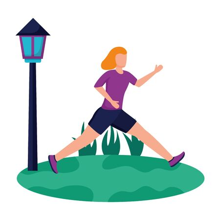 woman practicing running activity in the park vector illustration Zdjęcie Seryjne - 129577524