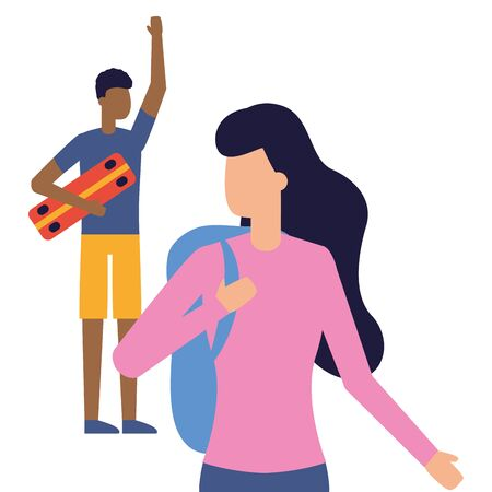 man with skateboard and woman holds bag vector illustration