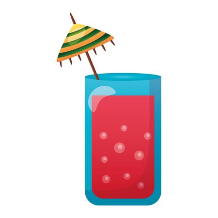summer time holiday cocktail with umbrella vector illustration
