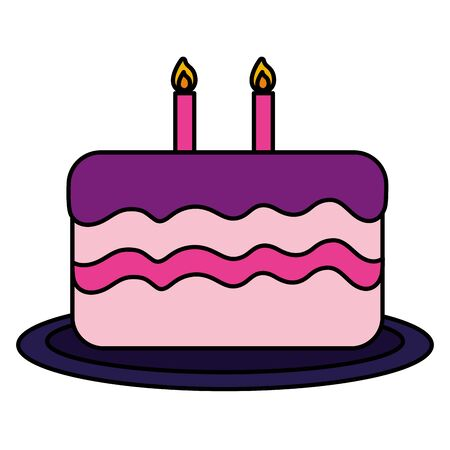 birthday cake candles dessert food vector illustration