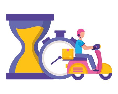 man in motorcycle clock stopwatch time fast delivery logistic vector illustration Stock Illustratie