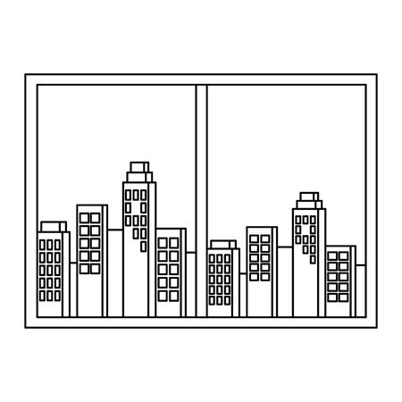 window with cityscape view scene vector illustration design Banque d'images - 129733719