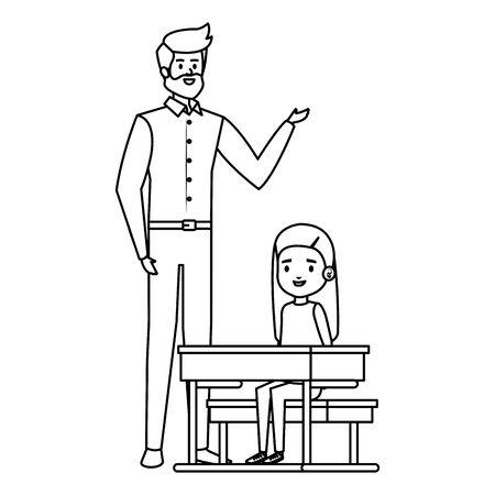 student girl in school desk with male teacher vector illustration design 일러스트