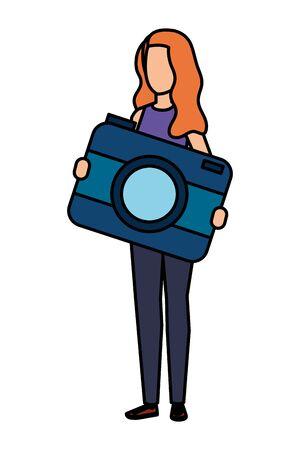 young woman lifting camera photographic character vector illustration design Çizim