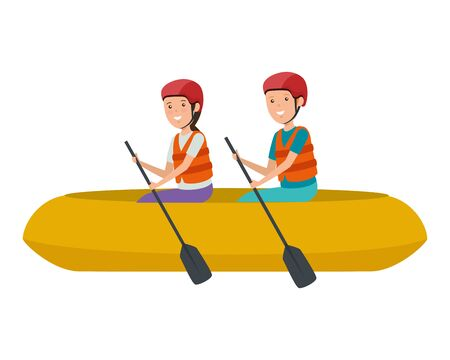 happy athletic couple in kayak characters vector illustration design