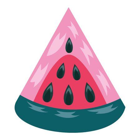 slice watermelon tropical fruits on white background vector illustration Illustration