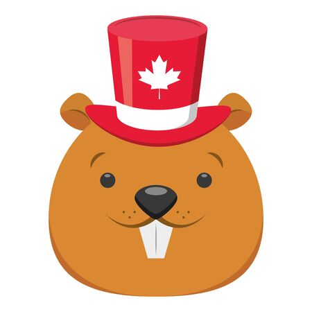 castoro con cappello foglia d'acero felice giorno del canada illustrazione vettoriale Vettoriali
