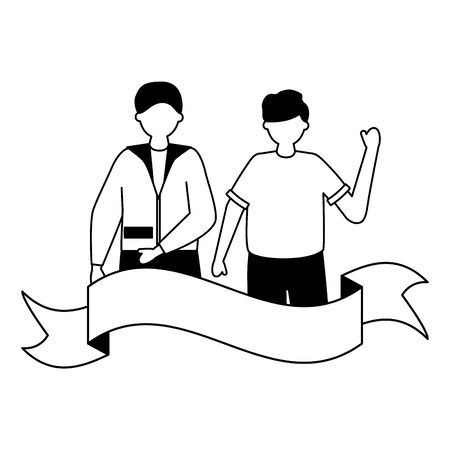 celebrating men young happy characters ribbon vector illustration white and black