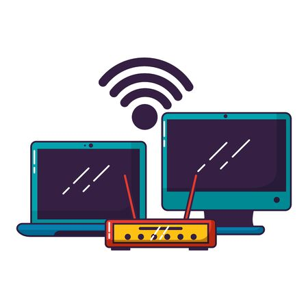 laptop computer router wifi free connection vector illustration Stok Fotoğraf - 129577651