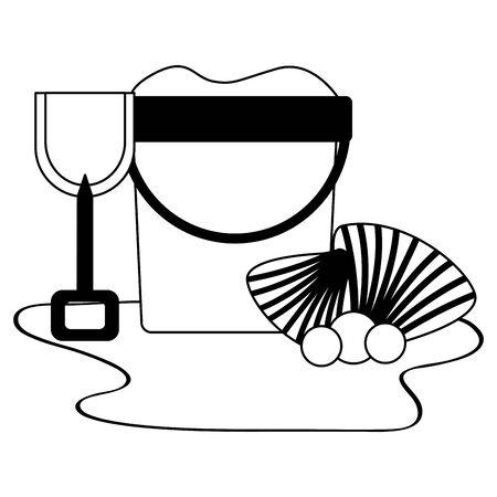 summer time holiday beach bucket sand shovel shell vector illustration