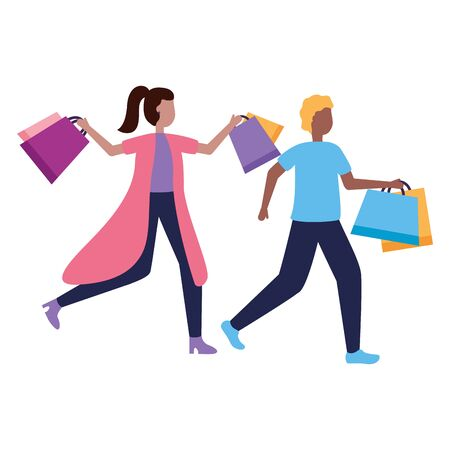 man and woman with shopping bags vector illustration Stock Vector - 129577680