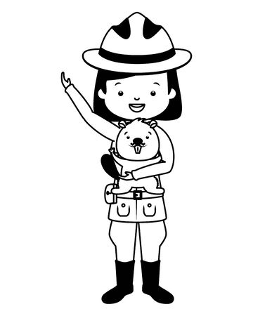 canadian police mounted woman with beaver happy canada day vector illustration