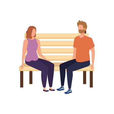 young lovers couple seated in park chair characters vector illustration design 일러스트